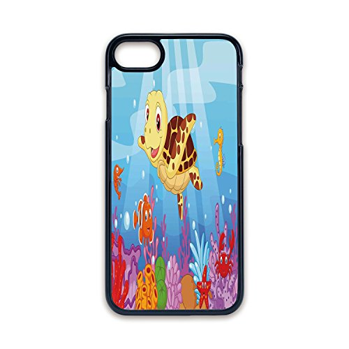 Phone Case Compatible with iPhone7 iPhone8 Black Edge Fashion Personality,Turtle,Funny Adorable Cartoon Style Underwater Sea Animals Baby Turtle and Fish Collection,Multicolor,Hard Plastic Phone Case ()