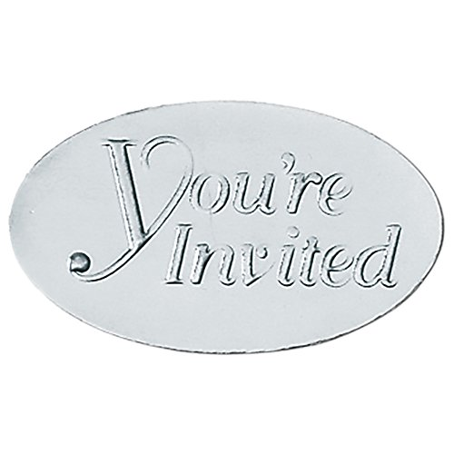 You're Invited Embossed Oval Silver Foil Seals, 30 Count ()