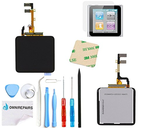 Omnirepairs-For Black iPod Nano 6th Gen (Generation) LCD Display + Digitizer Assembly Replacement + Adhesive +