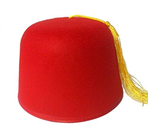 Fez Shriner Dr Who Aladdin Hat Red Felt Adult Hat Larger Head ()