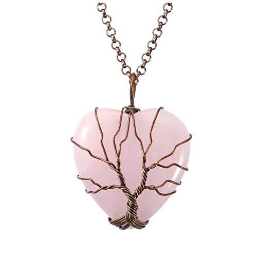 Top Plaza Natural Rose Quartz Healing Crystals Necklace Bronze Tree of Life Wire Wrapped Stone Heart Pendant Necklaces Reiki Quartz Jewelry for Womens Girls Ladies (Pendant Bronze Velvet)