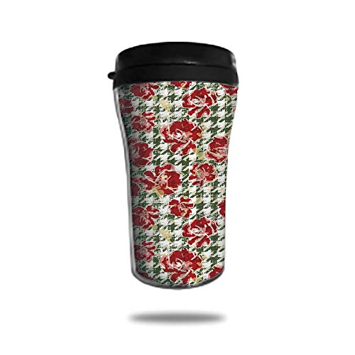 Stainless Steel Insulated Coffee Travel Mug,Spill Proof Flip Lid Insulated Coffee cup Keeps Hot or Cold 8.45 OZ(250 ml)Customizable printing byFloral,Vintage Classic with Scottish Houndstooth Vivid Ro