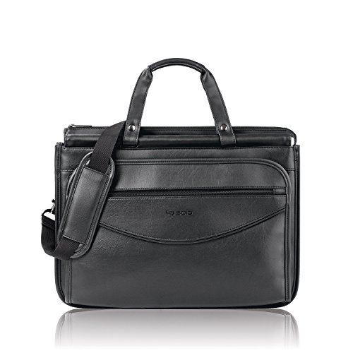 Solo Classic Collection Triple Compartment Portfolio, Carrying Case, Black (Gusset Wheeled Portfolio Computer Case)