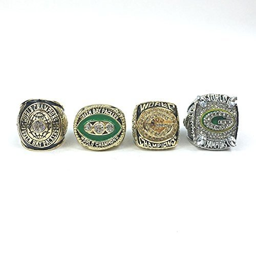 Green Bay Packers Super Bowl 1966 (I), 1967 (II), 1996 (XXXI), 2010 (XLV) Ring Set- Brett Favre, Aaron Rodgers (11) - Green Bay Packers Ring