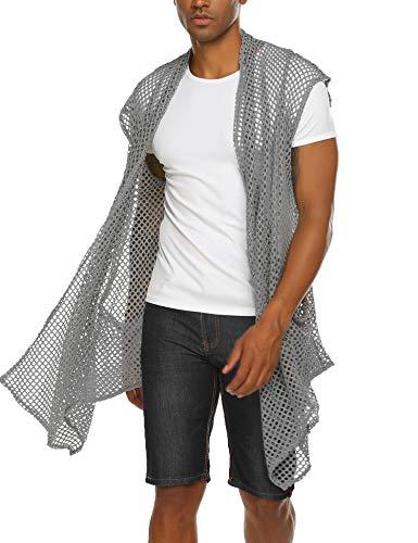 (COOFANDY Men's Ruffle Shawl Collar Cardigan Lightweight Mesh Fishnet Long Length Drape Cape)