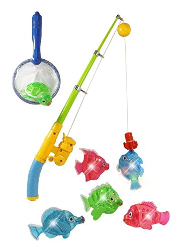 Magnetic Light Up Fishing Bath Toy Set for Kids - Rod & Reel with Turtle and 5 Unique Fish (Fish For Kids)