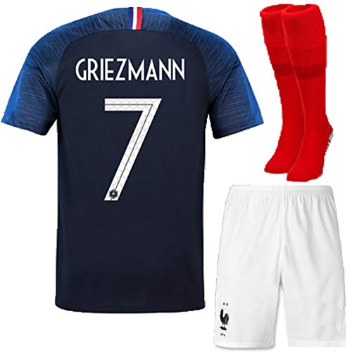 FC FirstClass 2018 Football Soccer Club Navy Blue Home Kit Short Sleeve Jersey Outfit Kids 3-12 Years Suit &Socks Free Ice Face Cloth (7-8 years, GRIEZMANN 7)