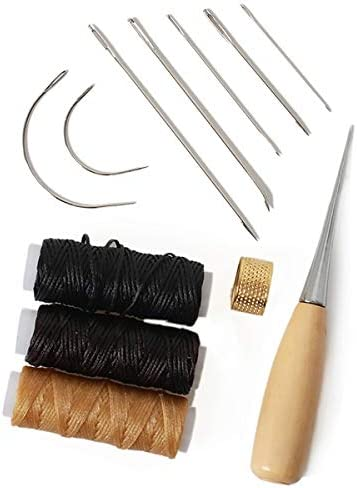 12 pcs Leather Craft Tool,Includes 5 root Leather Hand Sewing Needle,2 Curved Needle,3 Roll Leather Waxed Thread Cord(Black、Beige、Dark brown),1 Drilling awl and 1 Thimble,meet your leather repair need