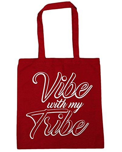HippoWarehouse Vibe con mi tribu Tote Compras Bolsa de playa 42cm x38cm, 10litros Classic Red