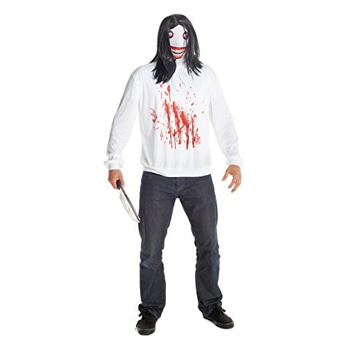 Morphsuits Men's Jeff the Killer Costume, Black/White/Red, One Size