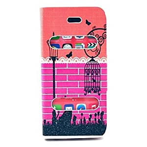 TOPAA Cat Watching Light Birdcage Pattern PU Leather Full Body Case with Stand for iPhone 5C