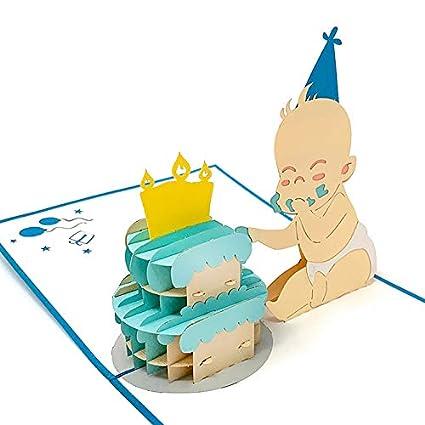 Tarjeta de felicitación para nacimiento de un niño en 3D con texto ...