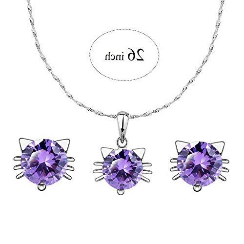 - Endicot Elegant Women Crystal Rhinestone Silver Pendant Necklace Earrings Jewelry Set | Model ERRNGS - 3918 | Jewelry Set Purple 26inch 12#