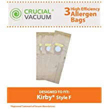 3 Kirby Style F High Efficiency Paper Vacuum Cleaner Bags Fits Kirby Ultimate G Diamond Edition, Ultimate G series, Gsix, Sentria vacuums built on 2009 and later; Part # 204808; By Crucial Vacuum