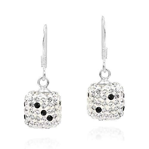 Sparkling Dice 3D Cubic Zirconia .925 Sterling Silver Dangle Earrings