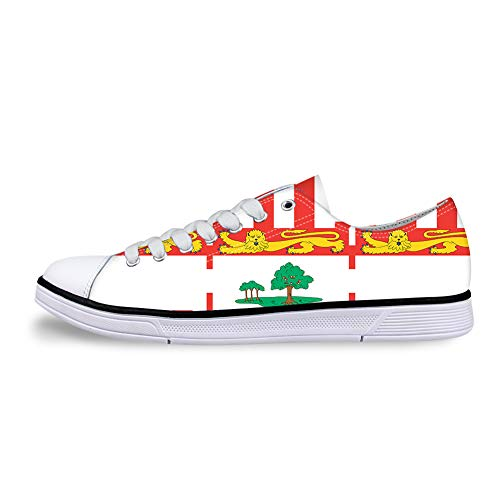 - Owaheson Canvas Low Top Sneaker Casual Skate Shoe Mens Womens Federal Birthplace Prince Edward Island Flag -37 White