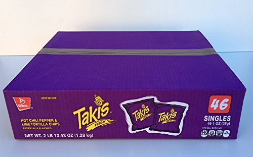 Takis Fuego Box of 46 bags (1 oz. each) (Hot Chili Pepper) by Barcel