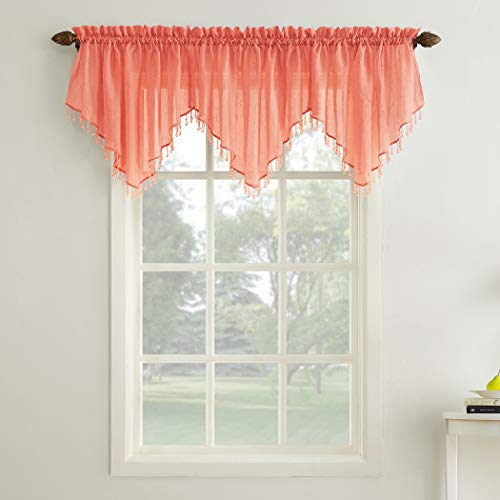 - No. 918 Erica Crushed Sheer Voile Ascot Beaded Curtain Valance, 51