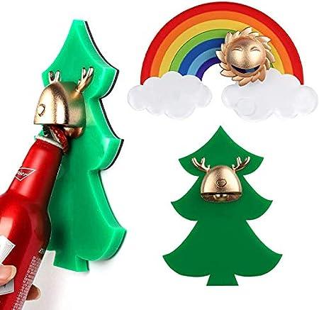 HSJ Cerveza Personalizada Multifuncional Navidad Ciervos de Oro Ciervo de Oro Arco Iris abridor Conveniencia (Color : Rainbow)