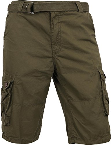 - MP Mens Premium Cargo Shorts With Belt Outdoor Twill Cotton Loose Fit Multi Pocket Pants (38, Olive)