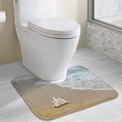 Beauregar Background Contour Bath Rugs,U-Shaped Bath Mats,Soft Memory Foam Bathroom Carpet,Nonslip Toilet Floor Mat 19.2″x15.7″