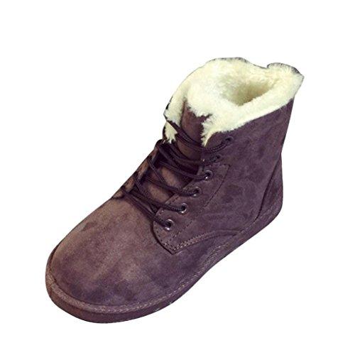 Ama (tm) Kvinner Snøre På Pels Lined Vinteren Martin Støvler Flat Snø Ankel  Støvler. sko; bomullsklut; Materialet sko: bomull ...