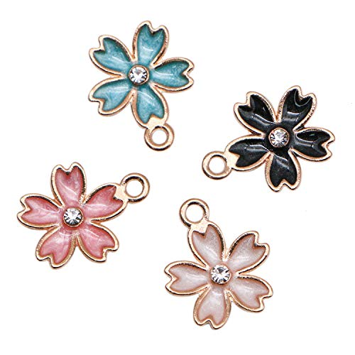 JETEHO 40Pcs Flower Charms Enamel Cherry Blossoms Flower Charm Pendant for DIY Jewelry Making