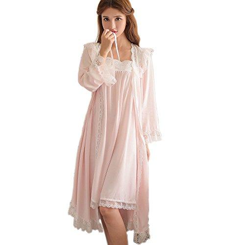 SINGINGQUEEN Womens Victorian Nightgown Vintage 2 Pcs Sleepwear Nightdress Robes Royal Pajamas Lounge Wear (Pink)