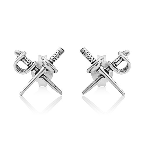 925 Oxidized Sterling Silver Tiny Crossed Sword Double Samurai Sword Post Stud Earrings 9 mm]()