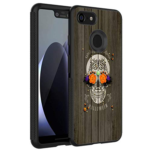 (HICKORY Slim Fit Google Pixel 3 XL Case, Shockproof Anti-Scratch Resistant Thin Black Back Cover Case Suger Skull Wood Halloween Google Pixel 3 XL)