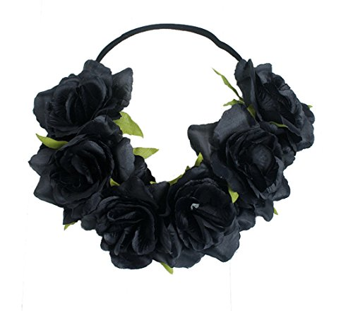 Floral Fall Rose Holiday Christmas Crown Festival Headbands Hippie Flower Headpiece F-53 (Black)