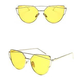 Vovotrade Fashion Twin-Beams Classic Women Metal Frame Mirror Sunglasses Cat Eye Glasses (Yellow, 2.2)