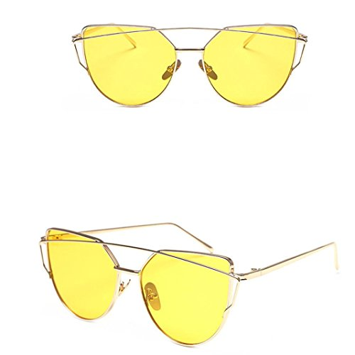 Vovotrade Fashion Twin-Beams Classic Women Metal Frame Mirror Sunglasses Cat Eye Glasses (Yellow, - Ray Bans Buy Wholesale