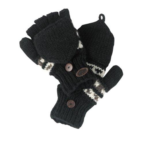 Hand Knit Mittens (Turtle Fur Women's Nepal Tyler Flippy Artisan Hand Knit Wool Mittens, Black)