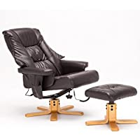 SGS Leather Massage Recliner Chair with Ottoman set, Brown