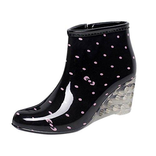Waterproof Black Rain Shot Garden Wellies Highten Heel Boots High Women's Ankle Pink LvRao Shoes 1Bq7Iw