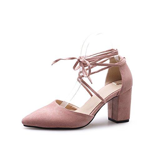 Pink Heels Avec Sangle Color Sandales Pure De High Cheville Bouche Peu Femmes Épais Fait Profonde qqOYPn6