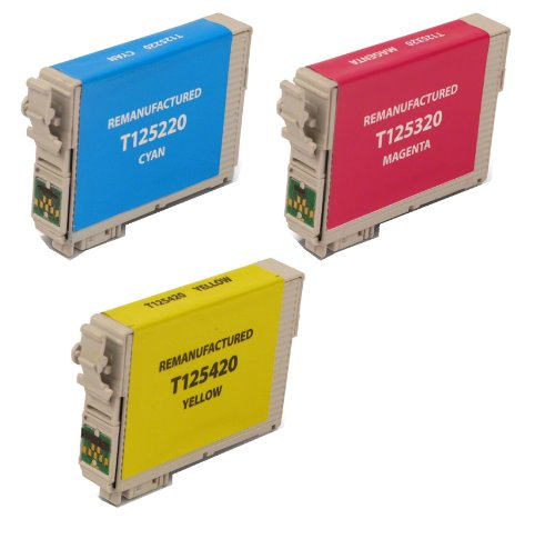 3 Pack Remanufactured Inkjet Cartridges for Epson T125 #125 T125220 T125320 T125420 Compatible With Epson Stylus NX125, Stylus NX127, Stylus NX130, Stylus NX230, Stylus NX420, Stylus NX530, Stylus NX625, WorkForce 320, WorkForce 323, WorkForce 325, WorkFo