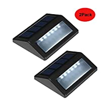 Ingleby [2 Pack] Solar Lights Waterproof 6 LED Solar Powered Steps Lamp Turn on Automatically for Modern Fixture Hallway Garden Stair Fence