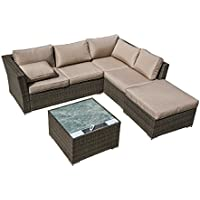 California Patio 4 Piece Sectional Conversation Sofa Set with Solar Powered Coffee Table
