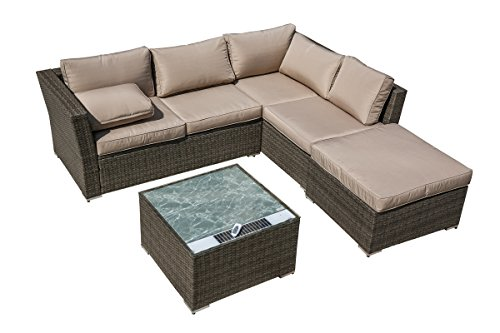 California Patio 4-Piece Sectional Conversation Sofa Set with Solar Powered Coffee Table by California Patio