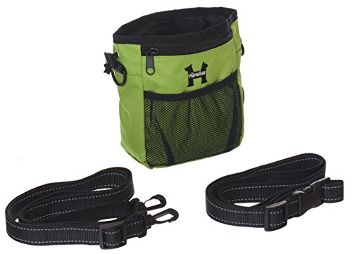 Green Dog Treat Bag - Treat Training Pouch for Small, Medium and Large Dogs with Built-In Poop Bag Dispenser, Waist and Shoulder Reflective Straps and Belt Clip - Puppy and Adult Dog Treats Tote Bag