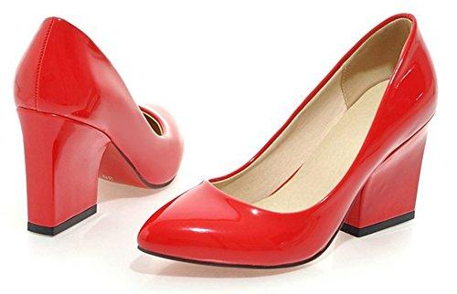 Easemax Mode Féminine Bout Pointu Slip Bas Sur Chunky Talon Haut Pompes Chaussures Rouge