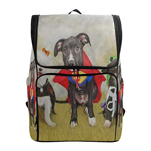 Laptop Backpack Hipster Puppy Dog Dressed in Halloween Costumes College Backpack for Women Large Vintage Bag ()