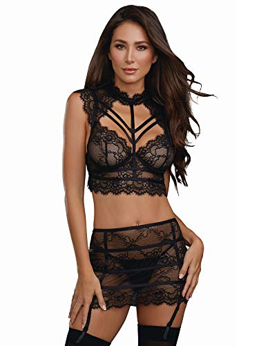 Dreamgirl Women's Collared Stretch Lace Bustier and Garter Skirt Set, Black Medium
