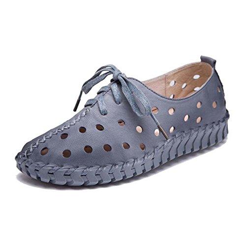 y Mujeres huecas estilo cuero Primavera Zapatos de Agujas Gray embarazadas ocasionales Zapatos de mujer Sandalias planos verano Nuevo femeninas Zapatos qqRPt
