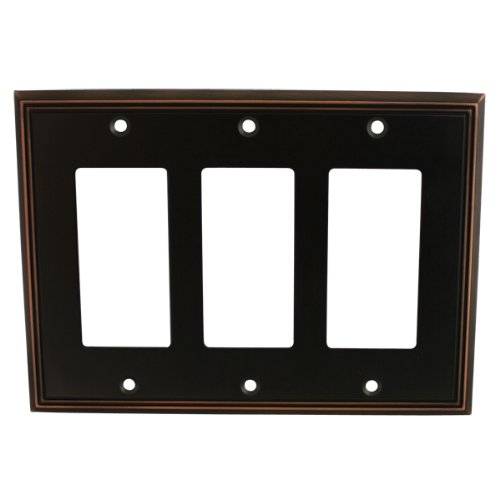 (Cosmas 65070-ORB Oil Rubbed Bronze Triple GFI/Decora Rocker Wall Switch Plate Switchplate Cover)