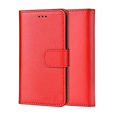 da17c4f25c96 Ameego MK-209 Premium Genuine iPhone XR Real Leather Flip Wallet Magnetic  Kickstand Slim Book Case with Card Slot + Free Screen Protector (Red): ...