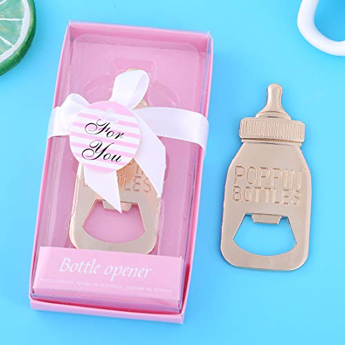 Pack of 48 Baby Shower Return Gifts for Guest Supplies Poppin Baby Bottle Shaped Bottle Opener with Exquisite packaging Wedding Favors Opener Party Souvenirs decorations by WeddParty(Pink Pack of