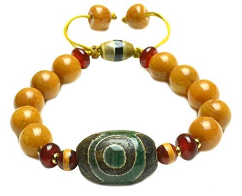 [Elegant Tibetan 3 Eyes Dzi(23mm)Protective Amulet yellow Jade Beaded Bracelet- Fortune Tibetan Jewelry] (Yellow Jade Beaded Bracelet)